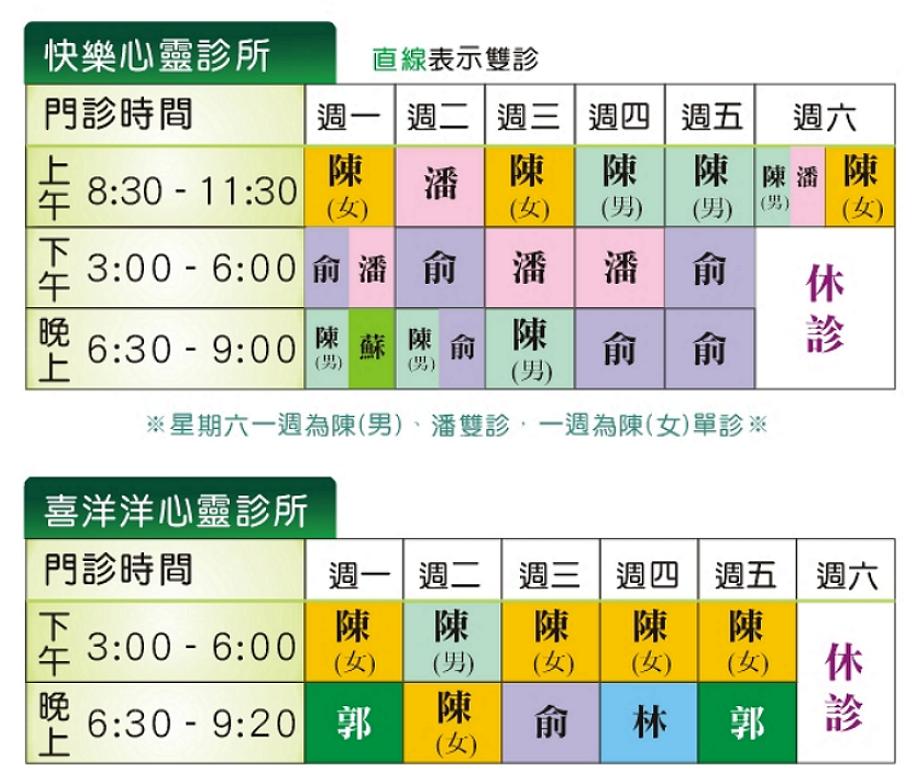 快樂心靈診所0819-門診表